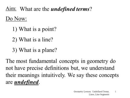 What are the undefined terms?