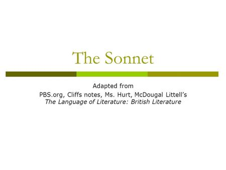 The Sonnet Adapted from