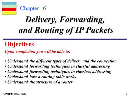 TCP/IP Protocol Suite 1 Chapter 6 Upon completion you will be able to: Delivery, Forwarding, and Routing of IP Packets Understand the different types of.