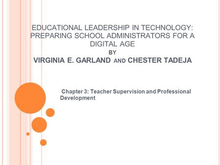 Chapter 3: Teacher Supervision and Professional Development