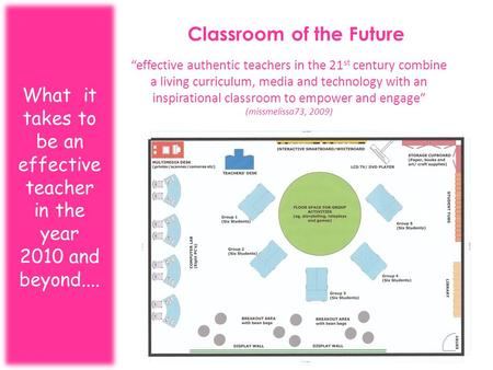 "Classroom of the Future What it takes to be an effective teacher in the year 2010 and beyond.... ""effective authentic teachers in the 21 st century combine."