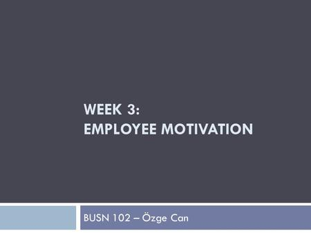 WEEK 3: EMPLOYEE MOTIVATION BUSN 102 – Özge Can. What Motivates Employees to Peak Performance?  Motivation  The combination of forces that move individuals.