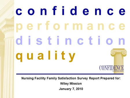 C o n f i d e n c e p e r f o r m a n c e d i s t i n c t i o n q u a l i t y Nursing Facility Family Satisfaction Survey Report Prepared for: Wiley Mission.