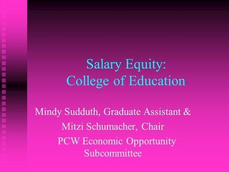 Salary Equity: College of Education Mindy Sudduth, Graduate Assistant & Mitzi Schumacher, Chair PCW Economic Opportunity Subcommittee.