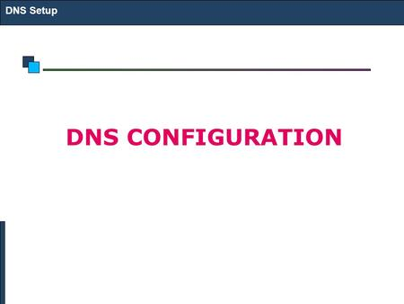 DNS Setup DNS CONFIGURATION. DNS Configuration DNS Setup named daemon is used A DNS Server may be caching/master/slave server The named.ca file has information.