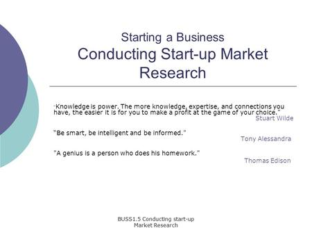 Starting a Business Conducting Start-up Market Research