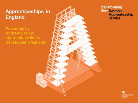 Apprenticeships in England Presented by Andrew Barlow International Skills Development Manager.