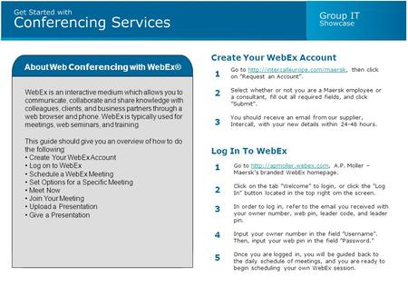 About Web Conferencing with WebEx® WebEx is an interactive medium which allows you to communicate, collaborate and share knowledge with colleagues, clients,