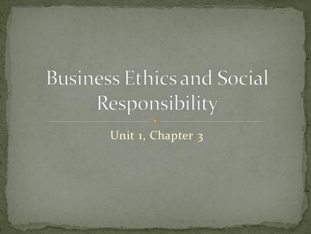 Unit 1, Chapter 3. Ethics – are the rules that help us tell the difference between right and wrong and encourage us to do the right thing. Ethical Behaviour.
