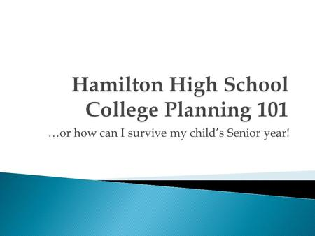 …or how can I survive my child's Senior year!. Hamilton High (951) 763-1865  Jason Sonnier- School Counselor