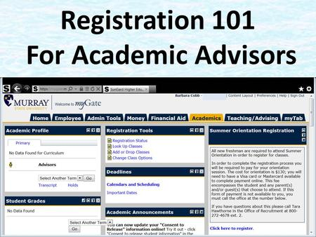 Registration 101 For Academic Advisors. What We Will Cover Logging On How Students Register on myGate – How to Enter CRNS – How to Search for Classes.
