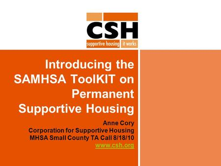 Introducing the SAMHSA ToolKIT on Permanent Supportive Housing