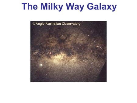 The Milky Way Galaxy. The Milky Way We see a band of faint light running around the entire sky. Galileo discovered it was composed of many stars. With.