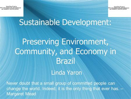 Sustainable Development: Preserving Environment, Community, and Economy in Brazil Linda Yaron Never doubt that a small group of committed people can change.