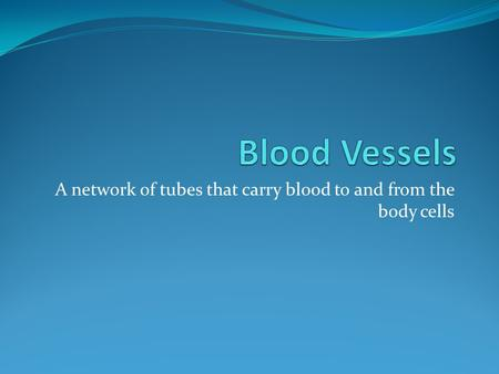 A network of tubes that carry blood to and from the body cells.
