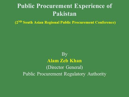 Public Procurement Regulatory Authority