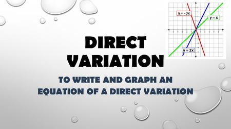 To write and graph an equation of a direct variation