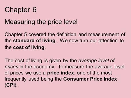 Chapter 6 Measuring the price level