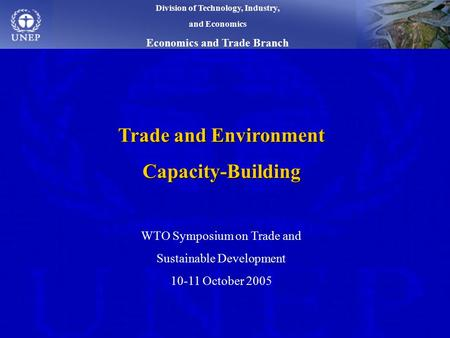 Trade and Environment Capacity-Building WTO Symposium on Trade and Sustainable Development 10-11 October 2005 Division of Technology, Industry, and Economics.