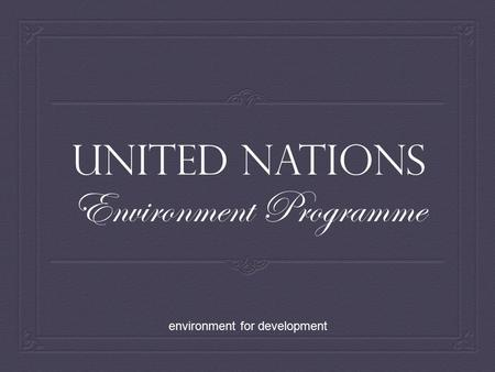 United Nations Environment Programme environment for development.