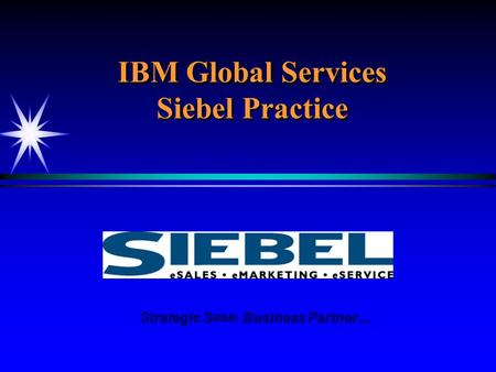 IBM Global Services Siebel Practice Strategic S IEBEL Business Partner… Strategic S IEBEL Business Partner…
