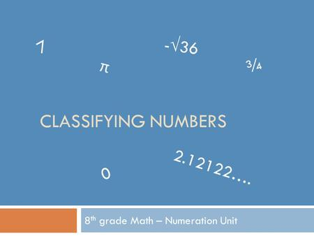 CLASSIFYING NUMBERS 8 th grade Math – Numeration Unit 7 π -√36 ¾ 0 2.12122….