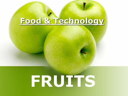 Food & Technology FRUITS. Origin A fruit is the edible part of a plant that contains a seed or the matured ovary of a flower. Fruits are defined botanically.