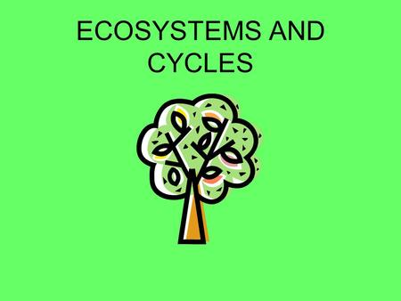 ECOSYSTEMS AND CYCLES EVERYTHING IS CONNECTED Ecology is the study of the interactions between living things and their environment –Living things are.