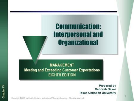 Copyright ©2005 by South-Western, a division of Thomson Learning. All rights reserved Chapter 13 1 Communication: Interpersonal and Organizational MANAGEMENT.