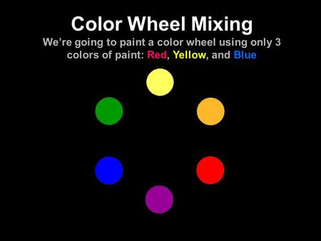 Color Wheel Mixing We're going to paint a color wheel using only 3 colors of paint: Red, Yellow, and Blue.