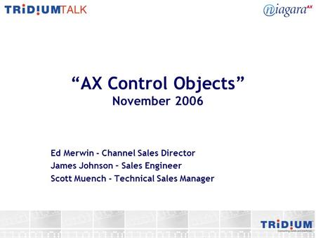 """AX Control Objects"" November 2006"