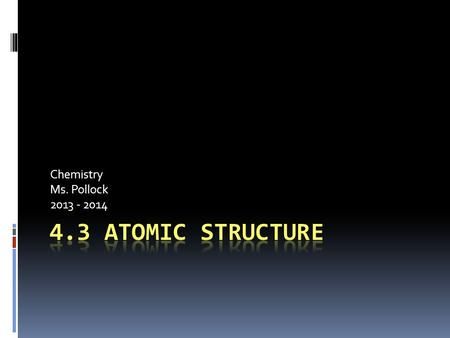 Chemistry Ms. Pollock 2013 - 2014. Introduction  Dalton's atomic theory very good but not entirely correct  Atoms able to be broken into smaller particles.