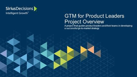 GTM for Product Leaders Project Overview A project that guides product leaders and their teams in developing a successful go-to-market strategy.
