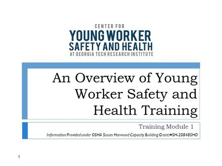 An Overview of Young Worker Safety and Health Training Training Module 1 1 Information Provided under OSHA Susan Harwood Capacity Building Grant: #SH-20848SHO.
