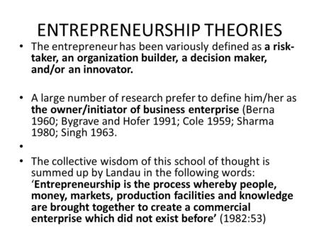 ENTREPRENEURSHIP <strong>THEORIES</strong>