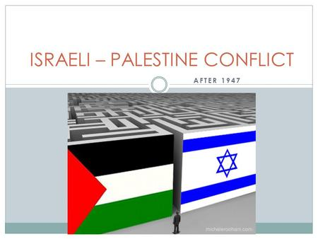 AFTER 1947 ISRAELI – PALESTINE CONFLICT. Focus: Understanding the UN's role and how the UN functions Interpreting the vote in the UN's decision regarding.