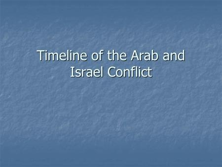 Timeline of the Arab and Israel Conflict. Late 1800's to WW 1 Zionism: Zionism: Theodore Herzl, a leading Jewish sympathizer, states that a Jewish homeland.