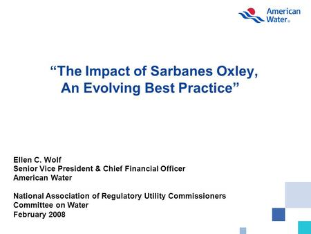 """The Impact of Sarbanes Oxley, An Evolving Best Practice"" Ellen C. Wolf Senior Vice President & Chief Financial Officer American Water National Association."
