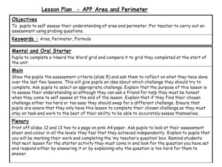 Lesson Plan - APP Area and Perimeter