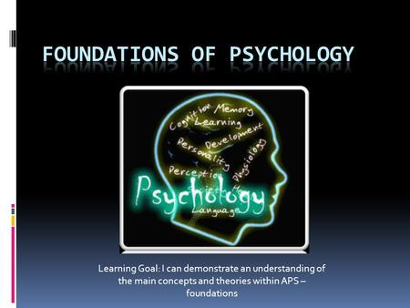 Learning Goal: I can demonstrate an understanding of the main concepts and theories within APS – foundations.