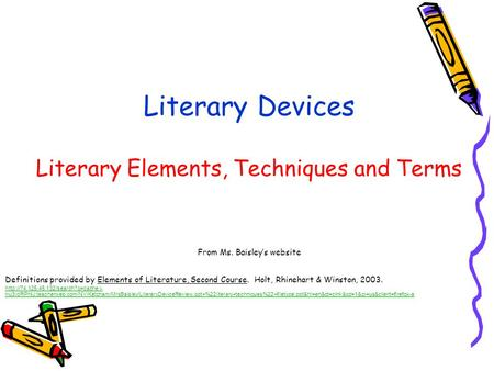 Literary Devices Literary Techniques Part 2 Adapted From Ms