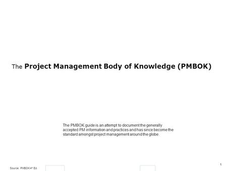 The Project Management Body of Knowledge (PMBOK)