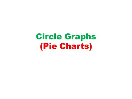 Circle Graphs (Pie Charts). 1) Add all the individual pieces of data together to get a whole. For example, if you were doing a pie chart on religion on.