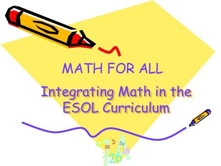 Integrating Math in the ESOL Curriculum MATH FOR ALL.