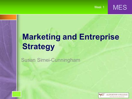 MES Week 1 Marketing and Entreprise Strategy Susan Simei-Cunningham.