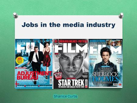Jobs in the media industry. Genre The genre for total film is entertainment and information on recent films. The film magazine cover all the new upcoming.