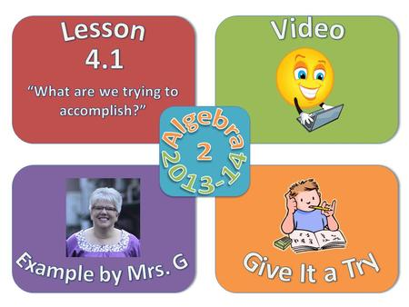Objective Video Example by Mrs. G Give It a Try Lesson 4.1  Add and subtract matrices  Multiply a matrix by a scalar number  Solve a matrix equation.
