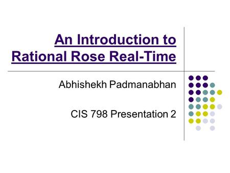 An Introduction to Rational Rose Real-Time