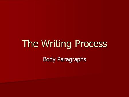 The Writing Process Body Paragraphs. A body paragraph is a paragraph that helps support the argument or claim made in the thesis statement. A body paragraph.