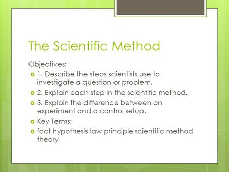 The Scientific Method Objectives: